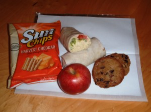 Packed Lunch - Curried Tuna Wrap, Chips, Apple and Oatmeal Raisin Cookies