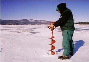 Ice Fishing - Drilling a hole